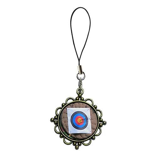 Chicforest Ancient Bronze Retro Style Olympics Archery Target Flower Photo Flower Strap Hanging Chain For Phone Cell Phone Charm Dust Plug-Earphone Jack Accessories, Cell Charms, Dust Plug, Ear Jack Universal 3.5Mm Anti Dust Earphone Jack Plug Cap For Pho