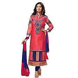 Zbuy Red Cotton Embroidered Unstitched Salwar Suit Dress Material