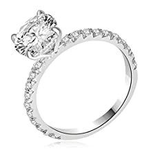 buy 2.13 Ct Tw Round Cut Diamond Engagement Ring In 18K White Gold