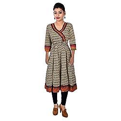 Alpna's Fabtex Women's Cotton Printed Angrakha Kurti (MTCALP35_Multi-Color_Medium)