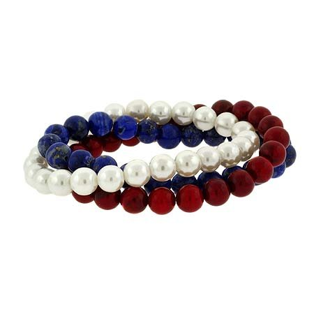 USA Pearl, Lapis, Coral Stone 8mm Bead Stretch Bracelet Set