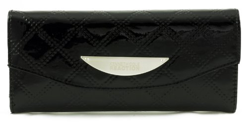 Kenneth Cole Reaction Womens Clutch Wallet Tri-fold iPhone/cell Holder Quilted (Black)
