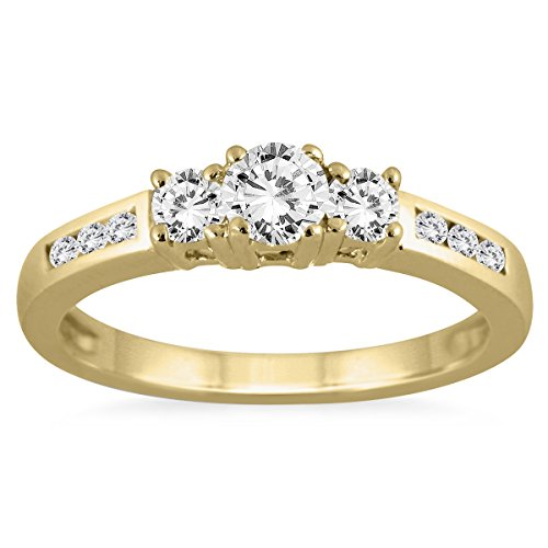 1/2 Carat Diamond Three Stone Ring in 10K Yellow Gold (Anniversary Rings Yellow Gold compare prices)