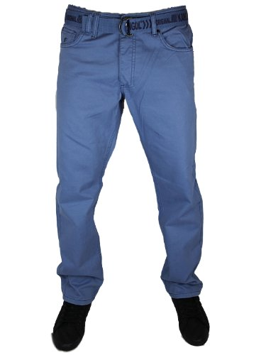 New Mens Bl Blue Kangol Jeans 479VB Designer Tapered Fit Chinos W34 L32