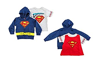 "DC Comics Boys Superman ""Caped Crusader"" Full Zipper Hoodie with T-Shirt and Cape Set"