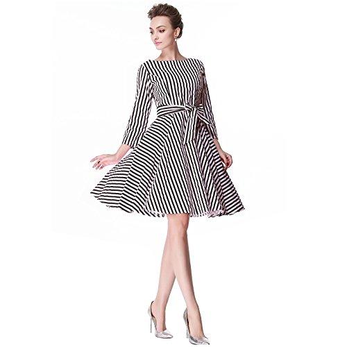 Heroecol 50s 60s Hepburn 3/4 Sleeve Style Vintage Retro Swing Rockailly Dresses XS Color stripe Black