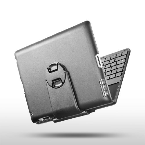 New Trent IMP38B Airbender ClamShell Keyboard Case for the NEW iPad, iPad 2, Bluetooth keyboard /w matte finish compatible with the NEW iPad, iPad 2 3G Tablet, WIFI Model, 16GB, 32GB, 64GB, with multi adjustable angles and removable stand (the UPGRADED VERSION of IMP39B Embassy)