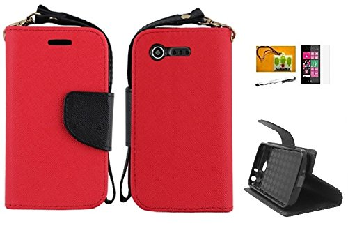 LF 4 in 1 Bundle - PU Leather 2 Tone Card Holder Wallet Stand Case, Lf Stylus Pen, Screen Protector & Droid Wiper Accessory for LG Optimus Fuel L34C (Straight Talk, Tracfone, Net 10), LG Optimus Zone 2 VS415PP (Verizon) (Wallet  Red) (Lg Optimus Fuel Tracfone compare prices)