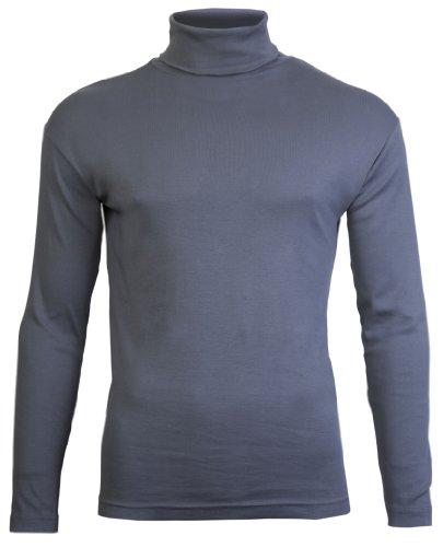 Mens Rotolo dolcevita collo di piani in esclusiva da Brody & Co. Plain invernale di sci di qualità Elasticizzato Jersey di cotone (S , carbone di legna)