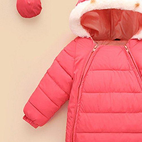 Baby Winter Footie Romper Snowsuit Down One Piece Hooded Zip Up Long Sleeve Bodysuit Jumpsuit with gloves 18-24 Months Pink