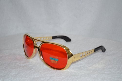 Red Elvis Sunglasses with Gold Frame - Aviator Glasses