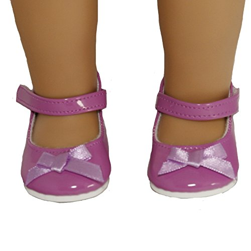 Purple Ankle Strap Shoe with Bow for 18 Inch Dolls Like American Girl