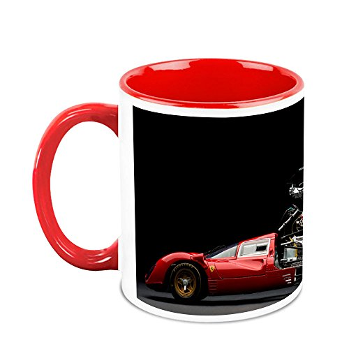 HomeSoGood Ferrari Car Transforming White Ceramic Coffee Mug - 325 Ml