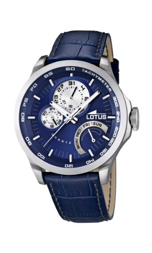 Lotus Men's Quartz Watch with Blue Dial Analogue Display and Blue Leather Strap 15846/2