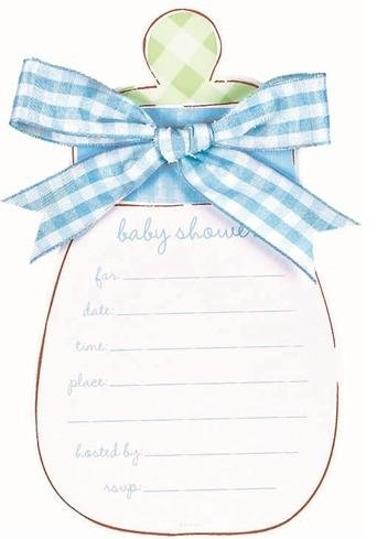 Blue Baby Bottle Baby Shower Invitations with Blue Envelopes - 8/Pack - 1
