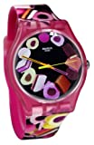 Swatch SUOP102 Lekker Multicolor Dial Pink Toffee Print Silicone Women Watch NEW
