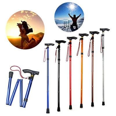 Folding Handle Cane Adjustable Retractable Aluminum Stick Hiking Walking Travel (Random Colour)