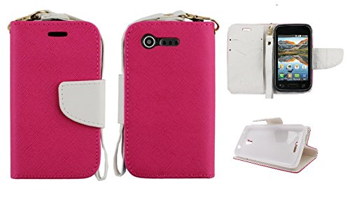 LF 4 in 1 Bundle - Leather 2 Tone Card Holder Wallet Stand Case, Lf Stylus Pen, Screen Protector & Droid Wiper Accessory for LG Optimus Fuel L34C (Straight Talk, Tracfone, Net 10), LG Optimus Zone 2 VS415PP (Verizon) (Wallet Zebra) (Lg Optimus Fuel Tracfone compare prices)