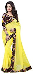 AVSAR PRINTS Women's Georgette Saree with Blouse Piece (Yellow)