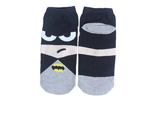 [HA-HA Socks Batman (Cartoon Superhero) Men's Cotton Ankle Socks (US 6 to 10)] (Batman Dress Socks)