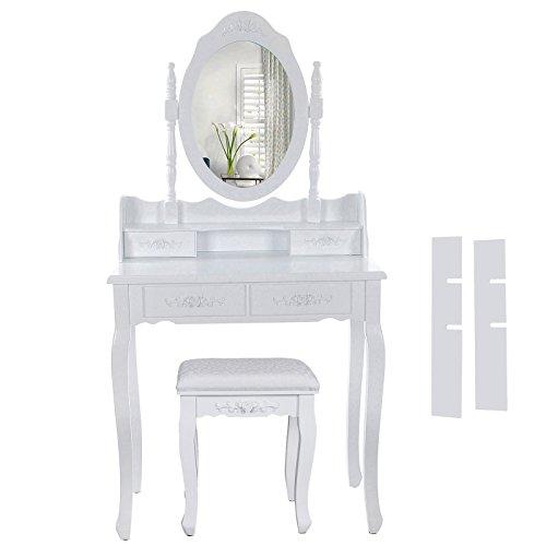 Songmics Specchiera Tavolo Cosmetici Mobile da Trucco da Toeletta con Sgabello Comò Con Specchio RDT77F