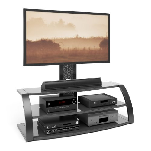 CorLiving TML-506-T Malibu TV Stand with Mount and Black Metal Uprights (Upright Tv Stand compare prices)