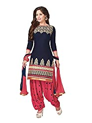Shayona Women's Faux Georgette Unstitched Dress Material (AS382D196_Blue_Free Size)