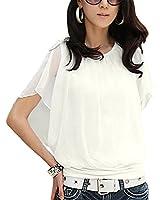 DJT Femme T-Shirt Mousseline Manches Chauve Souris Col Rond