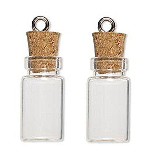 LEFV™ 50 Mini Glass Bottles 1-inch Message Treasure Charm Pendant Kit Makes Bottle Pendants 1ml Clear Vials with Corks & 50pcs Eye Screws - Miniature Empty Sample Jars (Glass Bottle Charm compare prices)