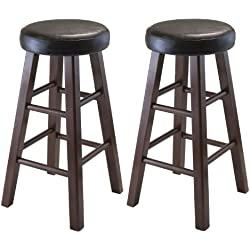 Winsome Wood Marta Assembled Round Counter Stool with PU Leather Cushion Seat, Square Legs, 24-Inch, Set of 2