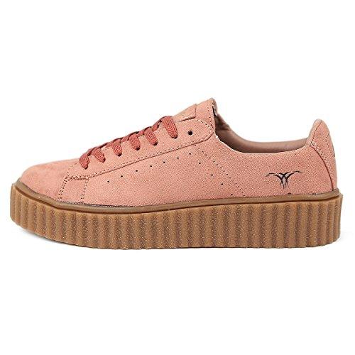 SKUTARI Damen - Plateau Low Sneakers Wildleder Schuhe, Rosa , Größe 39