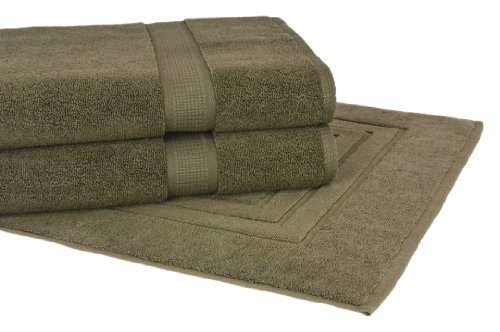 Calcot Growers Collection 100-Percent Zero-Twist Supima Cotton 3-Piece Bath Towel/Mat Set, Moss Green