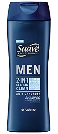 Suave Men 2 in 1 Shampoo and Conditioner, Classic Clean Anti Dandruff 12.6 oz