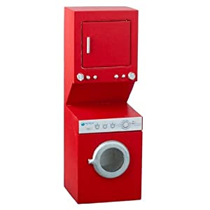 Amazon.com: Dollhouse Miniature Red Stacked Washer and Dryer: Toys