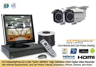 PRO SERIES Professional 2 Camera Indoor/OUTDOOR Color Sony Super HAD CCD 480 Lines 2.8-10mm Varifocal Lens Infrared Bullet Security Camera System with 4 Channel H.264 Digital Video Recorder - Internet and Cell Phone Viewing (iPhone, 3G Network, and More)