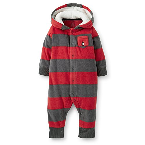 Carter'S Fleece Hooded Romper (Baby) - Red-24 Months back-1076520