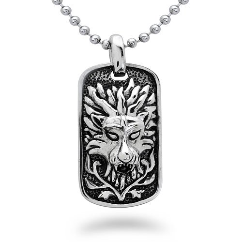 Stainless Steel Dragon Dog Tag Necklace – 20IN