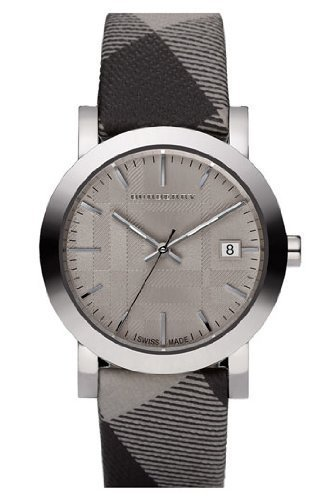 Burberry Swiss Made Check Fabric Strap Watch for Men / Unisex Watch
