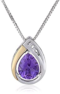 S&G Sterling Silver and 14k Yellow Gold Amethyst and Diamond-Accent Tear Drop Pendant Necklace, 18""