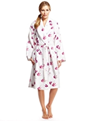 Per Una Pure Cotton Rose Print Velour Dressing Gown