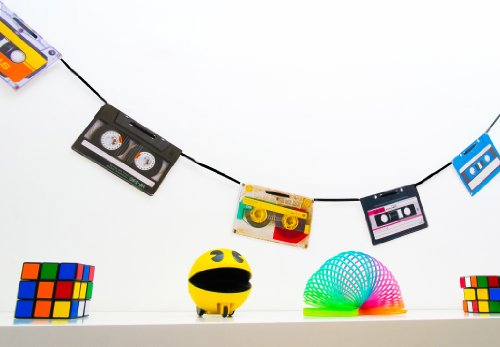 Retro Cassette Tape Bunting featuring prints of authentic brands from the 80s.
