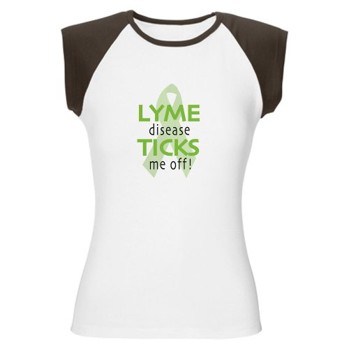 Cafepress Lyme Disease Ticks Me Off T-Shirt Women'S Cap Sleeve T-Shirt - L Brown/White