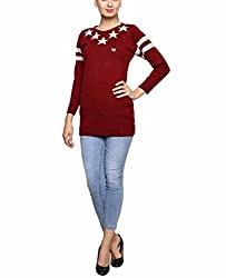 Leebonee Women's Acrylic Full Sleeve Maroon Sweater