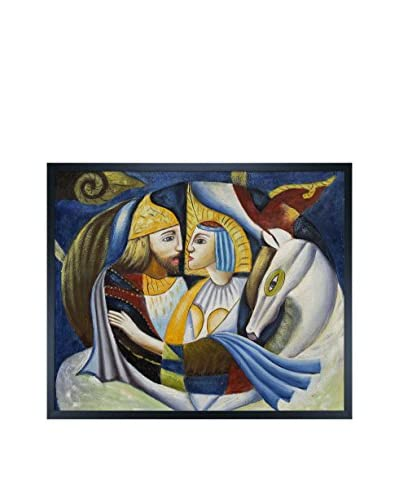 Courtship Framed Oil Painting