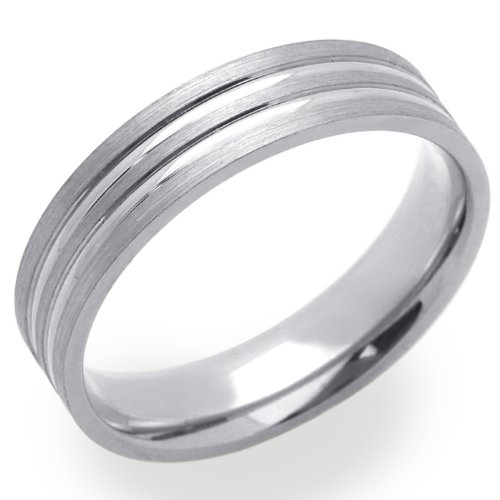 14K White Gold 5MM Wedding Bands Lined Ring , Size 5.5
