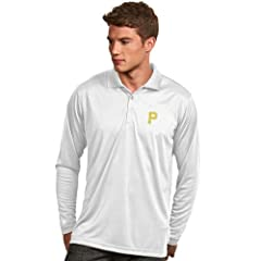 Pittsburgh Pirates Long Sleeve Polo Shirt (White) by Antigua