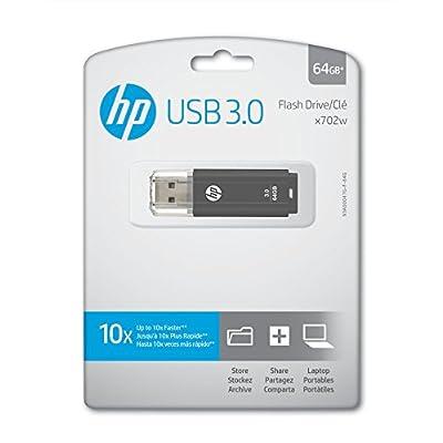 HP x702w 64GB USB 3.0 Flash Drive - Speed Approximately 10X Faster Than USB 2.0 - P-FD64GHP702-GE