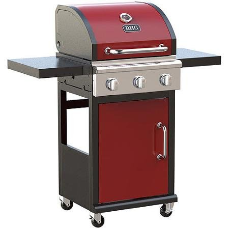 3-burner Outdoor BBQ Gas Grill with Foldable Side Panels and Swivel Casters - Red