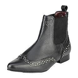 Delize Women's Pls50052-Black Leather Boots - 3 UK