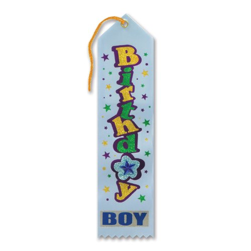 "Birthday Boy Jeweled Ribbon (White) 2"" x 8"" Party Accessory"